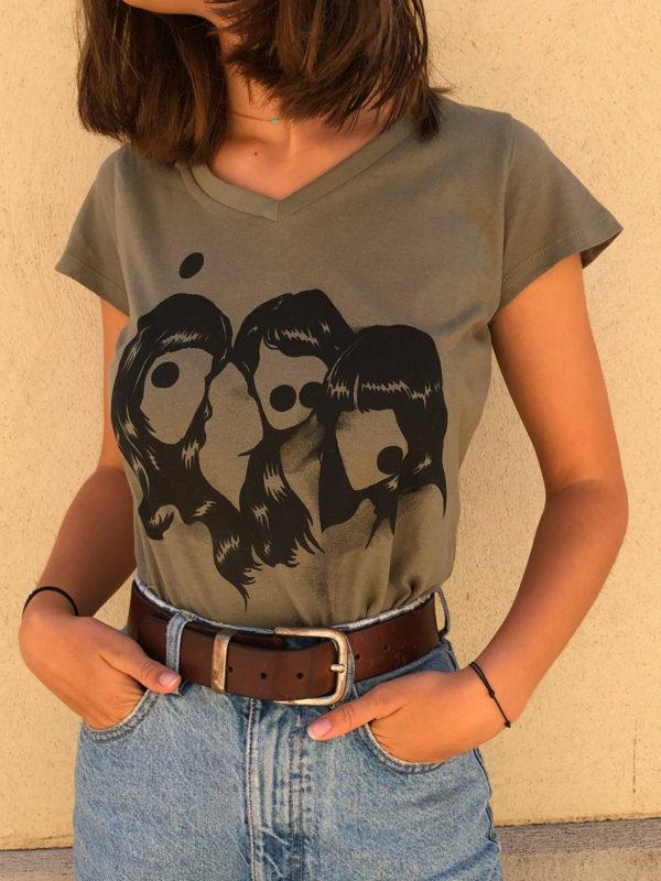 T-Shirt Dirty Femme kaki